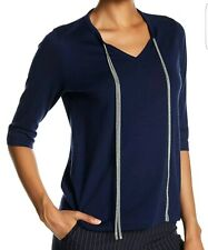 Lafayette 148 Women's Navy Blue Chain Wool Sweater Sz L Large Fit US 10 12 UK 14