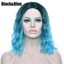 35cm Gradient Short Hair Full Head Wig Curly Cosplay Synthetic Lace Front Wigs