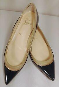 Christian Louboutin Black/Beige Patent Pointed Toe Paulina Flats Size 37,5/US 7B