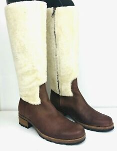 UGG Chrystie Womens Tall Riding Boots 8M Brown Leather Shearling Snow Boot 5512
