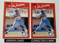 2X) BO JACKSON 1990 DONRUSS ALL-STAR #650 RARE ERROR RECENT MAJOR & CORRECTED (C