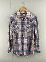 ELY Cattleman Vintage Men's Long Sleeve Western Shirt Pearl Snap Buttons Blue XL