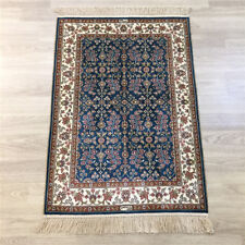 Yilong 2'x3' Blue Hand knotted Carpet Vintage Hand Woven Area Silk Rug 130A