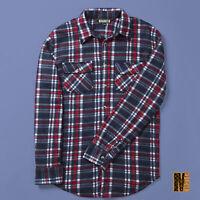 New Mens Long Sleeved Checked Fleece Shirt Red Navy Check Lumberjack Look Warm