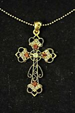LADIES GOLDEN TRADITIONAL AZTEC STYLE CROSS NECKLACE UNIQUE STUNNING PIECE(CL13)