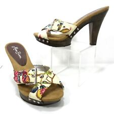 1e39bf6895ff Womens Size 7 Miss Bisou Wood Heels Open Toe Strappy Cross Floral Canvas  Sandals