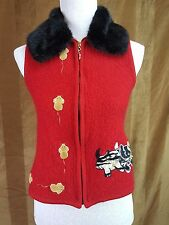 Lisa International size S Cats and mice Embroidered Full zip Wool Vest Faux fur