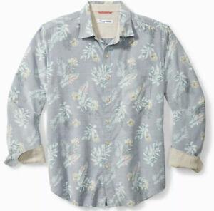 Tommy Bahama Men's Shirt Button Frond Mist Floral Ice Slate Blue Size XL $125