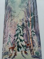Vtg DEER in PINK Tree Forest Artist Signed FRONT Only CHRISTMAS GREETING CARD