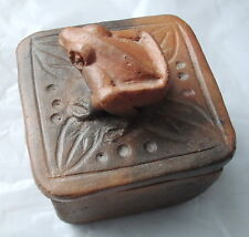 Vintage Trinket Box made with clay/stone with a frog on the lid
