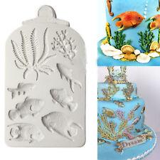 Poisson Corail Silicone Fondant Moule plage mer Gâteau Bordure Décoration Givrage Moule UK