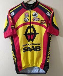 Castelli Gary Fisher Saab Cycling Jersey XL Yellow Blue Short Sleeve 1/2 Zip