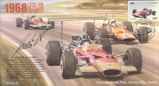 1968d Lotus-COSWORTH & McLaren-Cosworth Mexico f1 Cover Signed Jackie Oliver