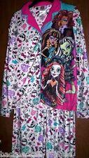 MONSTER High Fleece Pajamas Girls 7/8 NeW Button Down Shirt Pants Winter Pjs NWT