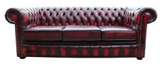 New Chesterfield 3 Seater Sofa Settee Couch Antique Oxblood Red Real Leather