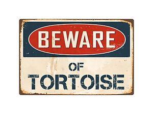 """Beware Of Tortoise 8"""" x 12"""" Vintage Aluminum Retro Metal Sign VS419"""