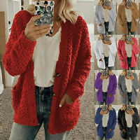 Plus Size Womens Coat Casual Soft Woolen Fleece Jumper Fluffy Ladies Cardigan