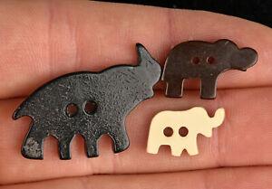 Three VTG Brown Black Bakelite Plastic Goofie Realistic Sewing Buttons Elephants