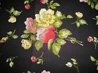 Red and Yellow Flowers on Black Quilting Fabric 50cm piece