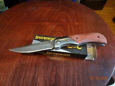 "3.88"" CLOSED BROWNING FOLDING POCKET KNIFE LINER LOCKING 440 S.S. BLADE WOOD HAN"