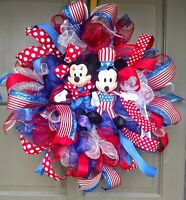 Handmade 4th of July Patriotic Mickey Mouse Minnie Mouse Deco Mesh Door Wreath