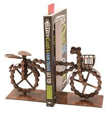 CATENA riciclato bicicletta bici in Metallo Reggilibri Libro Estremità Fair Trade Fatto a Mano Nuovo
