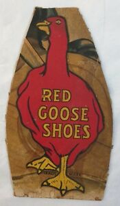Antique Colored Advertising Sign Red Goose Shoes