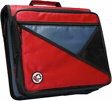 CASE-IT Universal 2-Inch 3-Ring Zipper Binder, Holds 13 Inch Laptop, Red- NEW