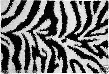 "Safari Jungle Wild Zebra Pattern White Black 20""x31"" Shaggy Rug Mat Gift"