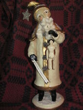 "16"" Folk Art Father Christmas Winter White Santa Claus & Primitive Doll, Sign"