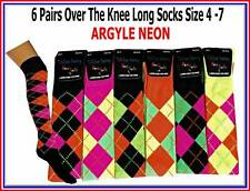 6 pairs LADIES GIRLS OVER THE KNEE LONG SOCKS ARGYLE NEON size uk 4-6