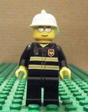 LEGO MINI – TOWN CITY - FIRE – SILVER SUNGLASSES, WHITE FIRE HELMET – GENT USED