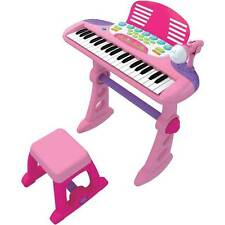 NEW KIDS KEYBOARD AND STAND PINK MUSICAL PIANO 37 KEYS+STOOL+MICROPHONE PACKAGE