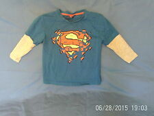 Boys  3-4 Years  - Blue & Grey Long Sleeve Top with Superman Motif