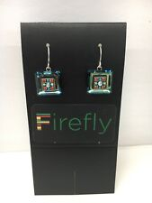 FIREFLY Multicolor Mosaic Square Drop Earrings - Inde Turquoise Silver