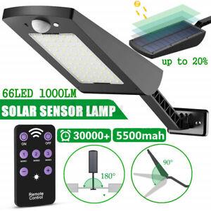 66LED Solar Street Light Outdoor Adjustable PIR Motion Sensor Wall Lamp+Remote