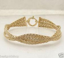 "8"" Triple Woven Wheat Spiga Chain Link Bracelet Real 14K Yellow Gold Sevilla HSN"