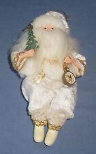"7"" Old World Santa Claus Christmas Tree Ornament with Clock Shelf Figurine White"