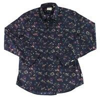 7Diamonds Mens Shirt Navy Blue Size Large L Button Down Floral Printed $89 #616