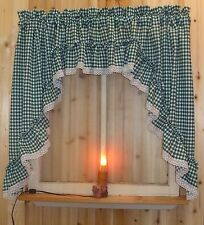 "Green Gingham Ruffled Swag Valance Curtain  82"" Wide x 36 Long"