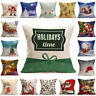 New Christmas Throw Waist Pillow Case Cotton Linen Cushion Cover Home Sofa Decor