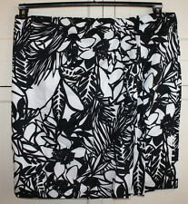Lane Bryant size 24 White and Black Floral Faux Wrap skirt With front pleats