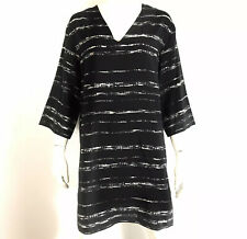 Vince Womens Shadow Stripe Shift Dress Tunic V Neck Black Silk Size XS