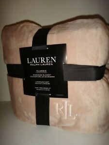 "RALPH LAUREN Dusty Rose Pink KING Micromink Plush Throw Soft Blanket 108"" x 90"""