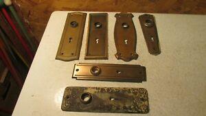 6 Old Steel Door Lock Plates