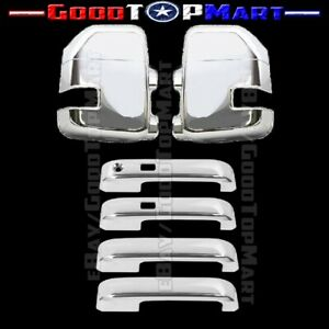 For 2017 2018 2019 Ford F250/F350 MIRROR + 4DR HANDLE W/ SMART Key CHROME COVER