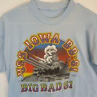 Vintage USS Iowa BB 61 Big Bad Stick T Shirt 80s Single Stitch USA Jacobson S M