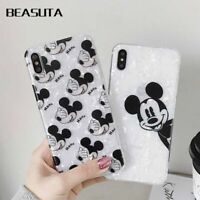 Cute Cartoon Mickey Minnie Mouse Glitter Phone Case Cover Solid Skin For iPhone
