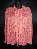 Vintage 80s 12 M Red White Print Sheer Blouse Ascot Tie Neck Shirt Long Sleeve