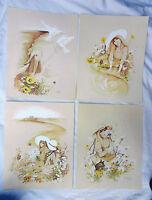 Retro 1960s 1970s Style set Four Art Prints -  William W Tara - Ready to Frame